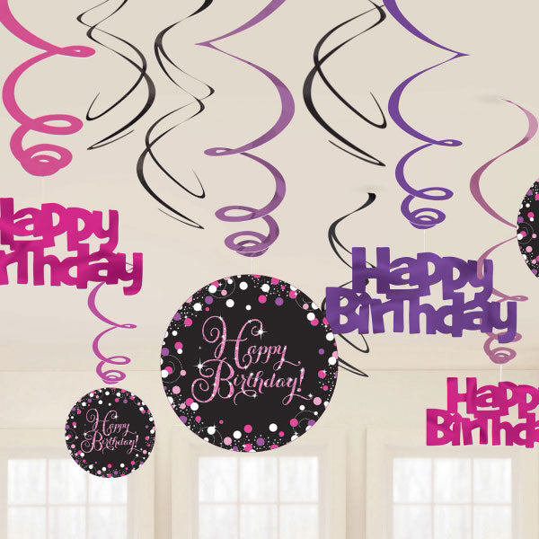 Sparkling Pink Happy  Birthday Hanging Swirls Cardboard - 6 Plain Foil Swirls, 3 x Foil Swirls with 18cm Cutouts & 3 with 13cm Cutouts - Pack of 12