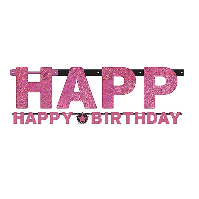 Sparkling Pink Happy Birthday Letter Banner  Jointed 2.13m x 16cm Holographic Cardboard Pink, Black & Silver - Each