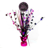 Sparkling Pink Happy Birthday Centrepiece 45cm Pink, Purple, Black & Silver - Each