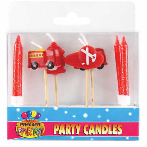 Fire Engine Pick Candles  & 4 Candles & Holders  - Pack of 8