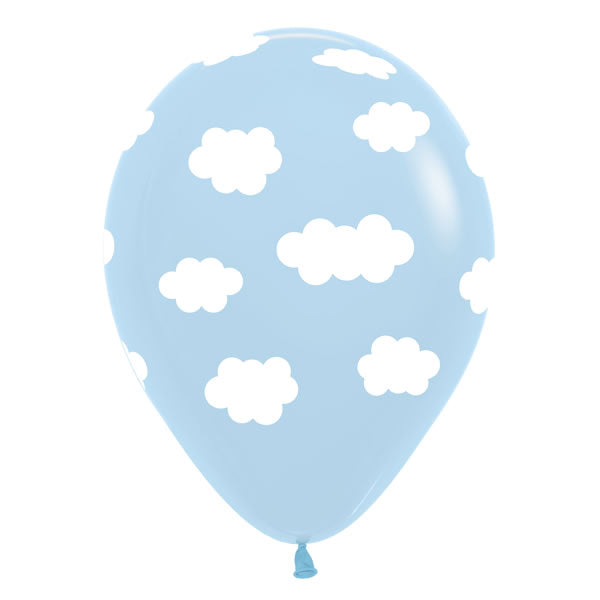 30cm Clouds Design on Pastel Blue Latex Balloons - Pack of 50