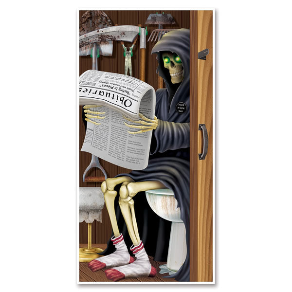 Door Cover Grim Reaper Restroom (76cm x 152cm) All weather material suitable for indoor or outdoor use - Each