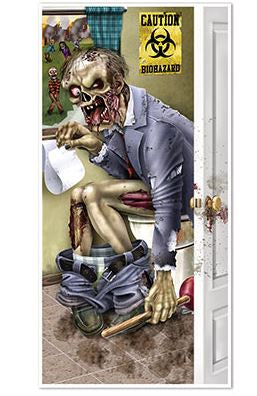 Zombie Restroom Toilet Door Cover Plastic 76cm x 1.52m Indoor or Outdoor Use - This will scare the Pants off You! - Each