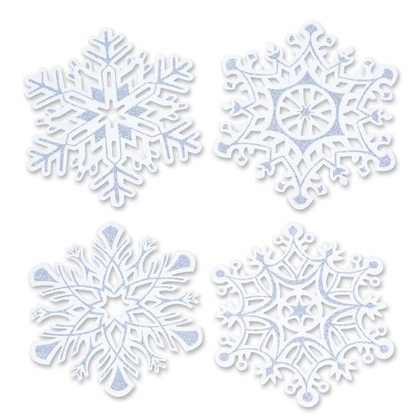 Glittered Snowflake Large Cutout 36cm x 32cm White Cardboard & Glitter Double Sided - Each