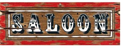 Saloon Western Sign Cutout Crdboard - Printed both Sides 56cm x 20cm - Each