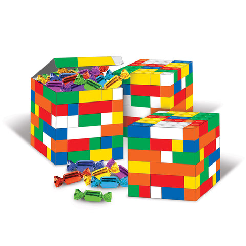 Block Party Building Blocks Favor Boxes or use as Centrepiece's - 8.3cm (Supplied Flat - Assembly Required) - Pack of 3