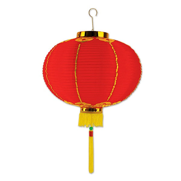 Good Luck Lantern with Tassels 41cm Red & Gold - Each