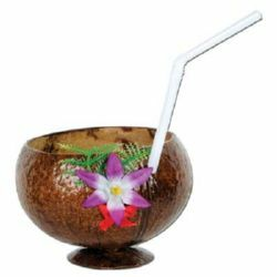 Coconut Cup with Flower & Straw