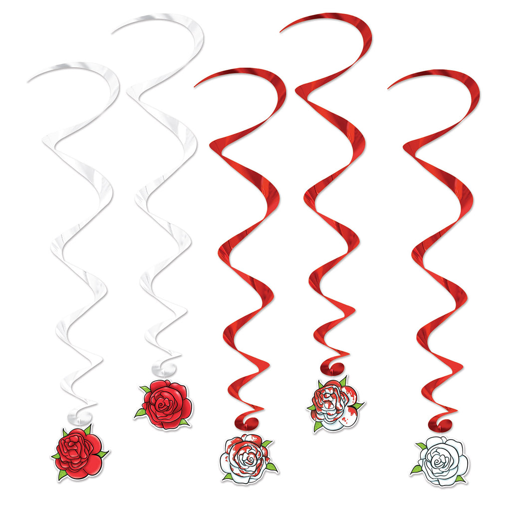 Hanging Decoration Whirls Roses Foils Swirls & Assorted Cardboard Cutouts Printed Both Sides - Pack of 5