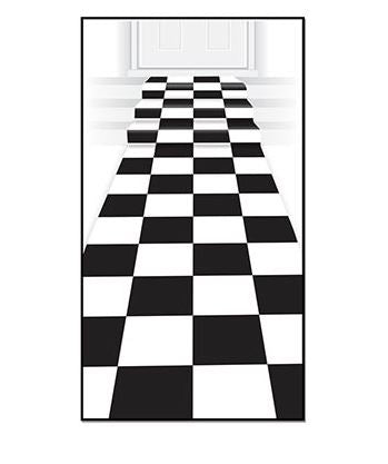 Checkered Floor Runner Black & White 61cm x 3m Includes Double Sided Tape - Indoor or Outdoor Use - Each