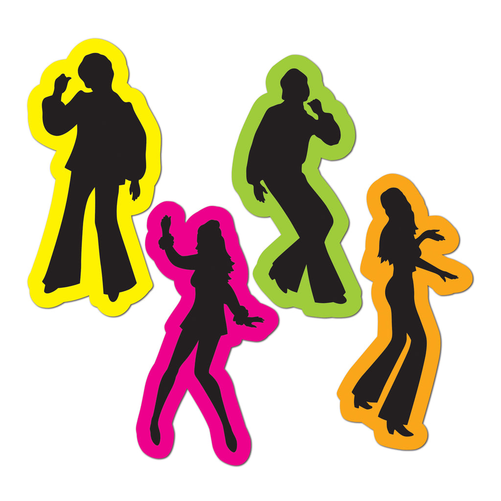 Cutouts 70's Silhouttes Retro Figures Cardboard 36cm Printed Both Sides - Pack of 4