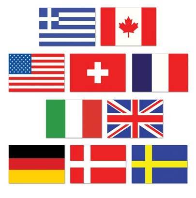 Cutouts International Mini Flags 11cm x 7.5cm Cardboard Assorted Designs - Printed Both Sides - Pack of 10