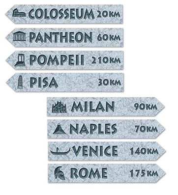 Italian Street Signs Cutouts Assorted Designs Printed both Sides 60cm x 10cm - Pack of 4
