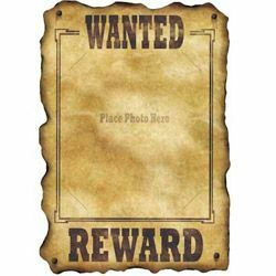 Western Wanted Sign (42cm x 30cm ) Slotted to hold 20cm x 25cm Photo - Each