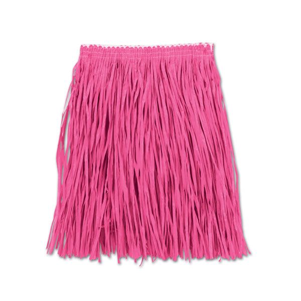 Hula Skirt Mini Pink - Adult Size 91cm x 41cm - Elasticated Waist - Each
