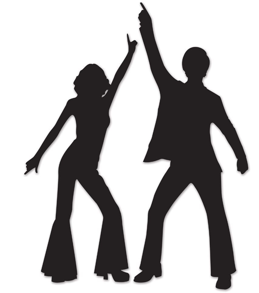 Disco Silhouettes Cutouts Black Cardboard 83cm & 93cm - Pack of 2