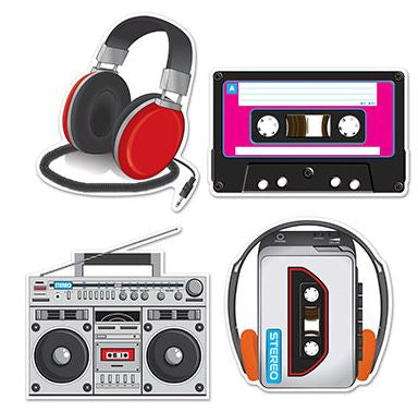 Cassette Player & Headphones Cutouts Assorted Designs Printed Both Sides - Sizes from 30cm - 36cm - Pack of 4