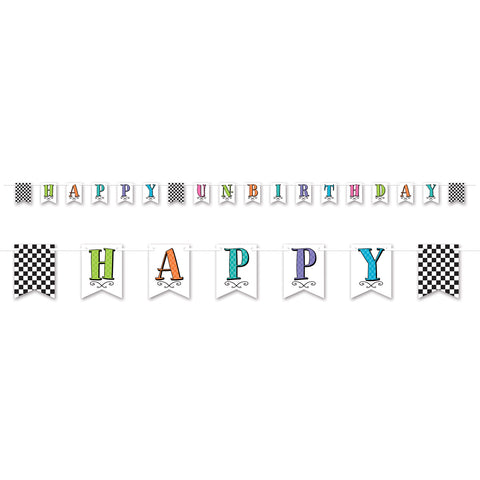 Alice in Wonderland Banner Happy Un-Birthday Cardboard 3.66m includes Ribbon - Each Pennant Size 11cm x 15cm - Each