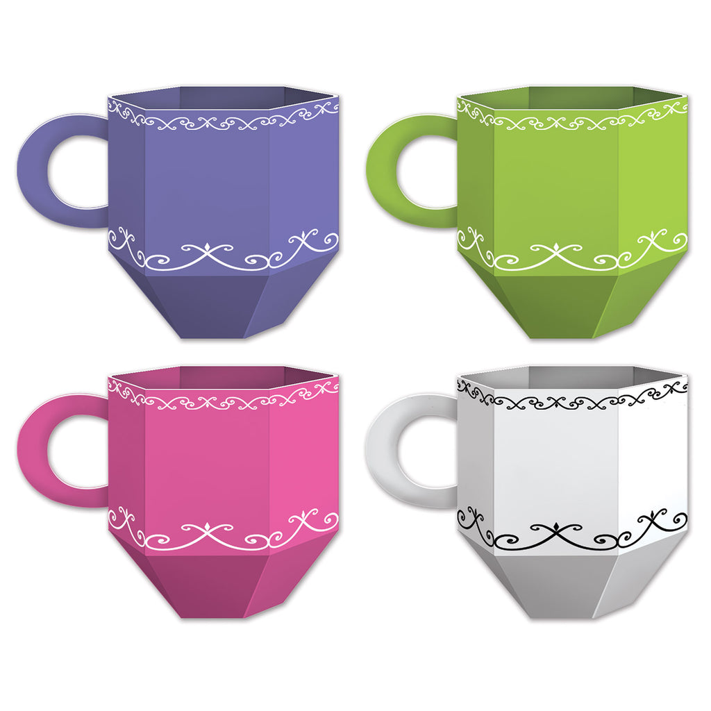 Tea Cup Favor Boxes or Centrepieces 9cm x 12cm Cardboard Assorted Colours (Assembly Required) - Pack of 3