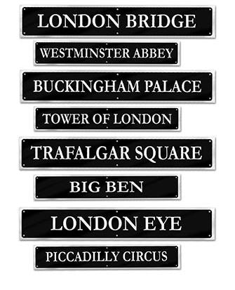 British Street Signs Cutouts Assorted Designs Printed Both Sides 61cm x 10cm - Pack of 4