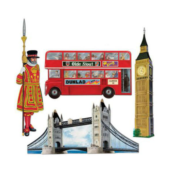 British Cutouts Assorted Pack 48cm to 66cm Cardboard Printed both Sides - Pack of 4