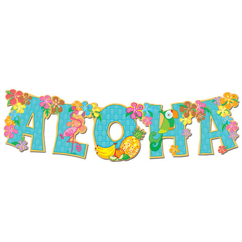 Aloha Streamer Jointed Banner 84cm Cardboard - Each