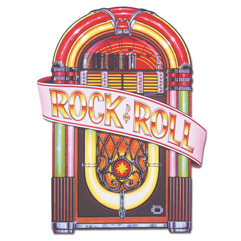 Cutout Jukebox Rock & Roll Printed Both Sides 87cm x 59cm Cardboard Folded in Half (Not suitable for Express Post due to Size - Each