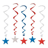 Star Hanging Swirls Red, Silver & Blue 91cm - Pack of 5