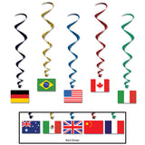 International Flag Whirls Hanging Decorations 97cm - Foil & Plastic - Pack of 5