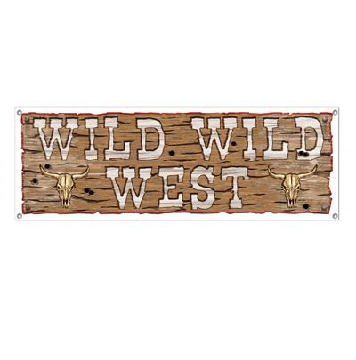 Wild Wild West Western Banner 1.5m x 53cm Plastic with Eyelets - Indoor or Outdoor Use - Each