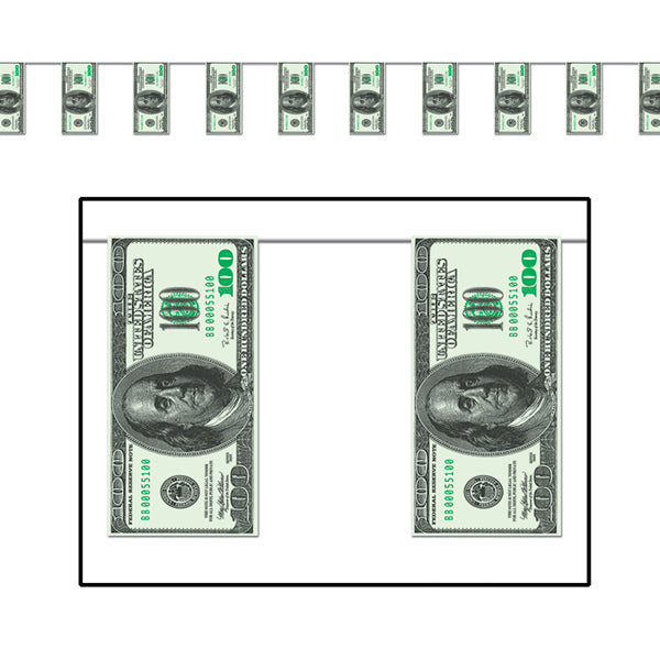 Pennant Banner One Hundred Dollar Bill 25cm x 3.7m Plastic - Indoor & Outdoor Use - Each