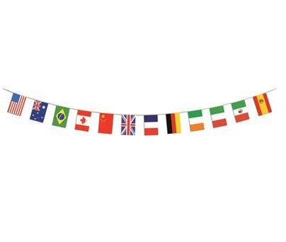 International Flag Pennant Banner 12 Flags 4.4m Plastic Indoor or Outdoor Use - Each