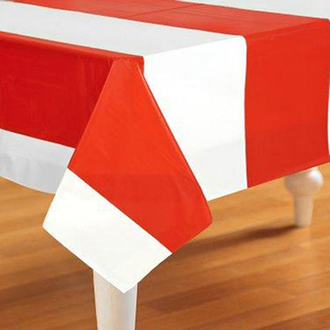 Tablecover Red & White Stripes (135cm x 270cm) Plastic - Each
