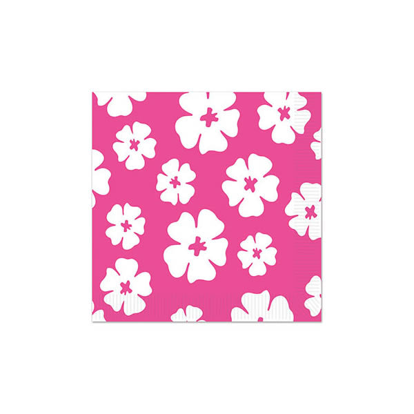 Hibiscus Beverage Napkins Pink & White 25cm x 25cm 2 Ply - Pack of 16