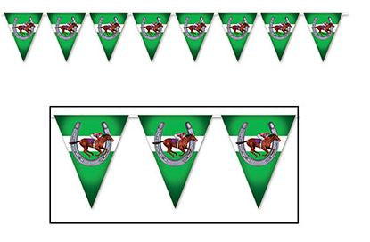 Horse Racing Pennant Banner Plastic 3.66m Plastic Indoor or Outdoor Use - 12 Pennants 27cm x 21cm - Each
