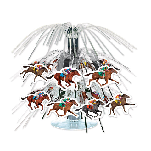 Horse Racing Mini Cascade Centrepiece 19cm Silver Foil & Clear Plastic Base with Cardboard Horses - Each