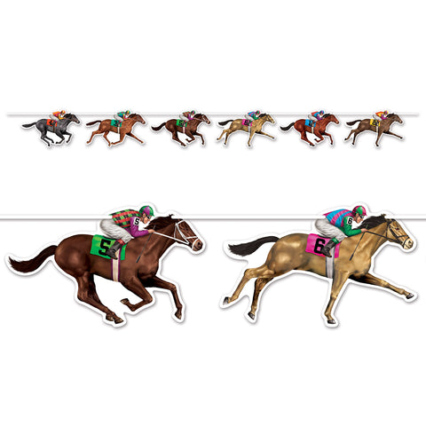 Horse Racing Streamer Banner 1.83m 6 x 16cm x 27cm Assorted Cardboard Cutouts & String Provided - Each