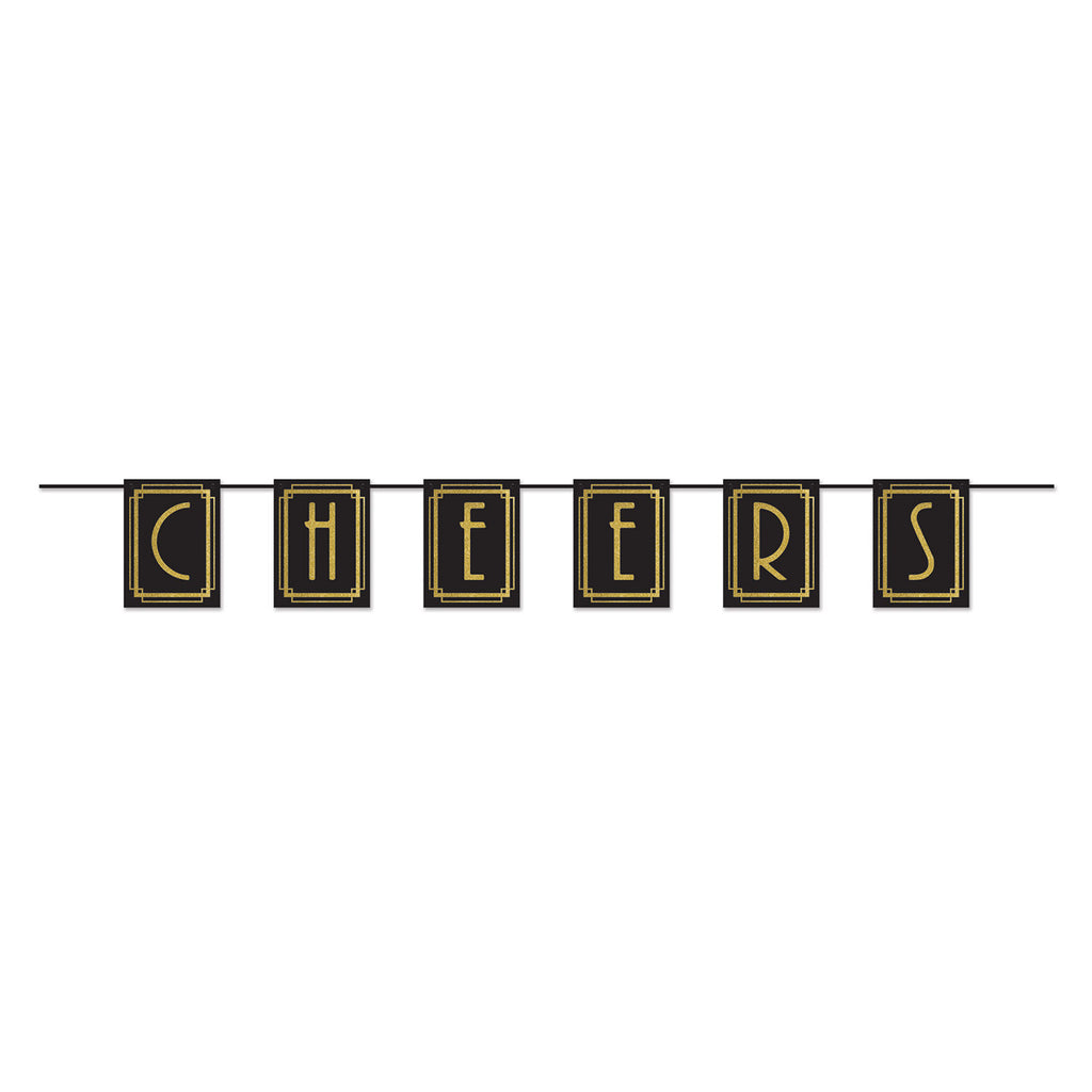 Banner Cheers Great 20's Black & Gold 1.83m Cardboard & String Provided Each Pennant Size is 23cm x 17cm - Each
