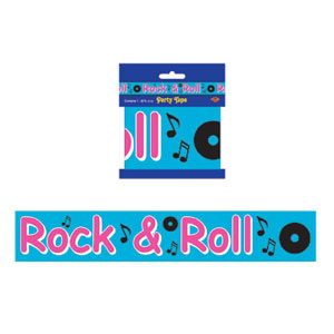 Party Tape Rock and Roll (7.6cm x 6m) All Weather Poly Material - Each
