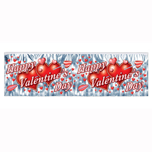 Banner Fringe Valentine's Day . Metallic PVC (35cm High x 1.2 Metres Long) - Each