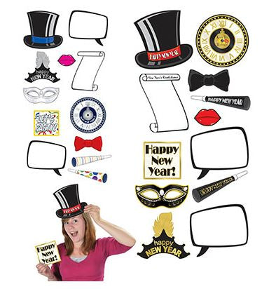 Happy New Year Photo Props Fun Signs Assorted Sizes 10cm to 23cm - Printed Both Sides - Pack of 12