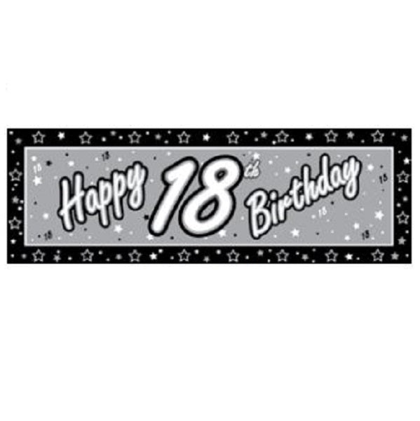 Giant Banner Happy 18th Birthday Black & Silver complete with eyelets - 51cm x 152cm Plastic (Indoor or Outdoor Use) - Each