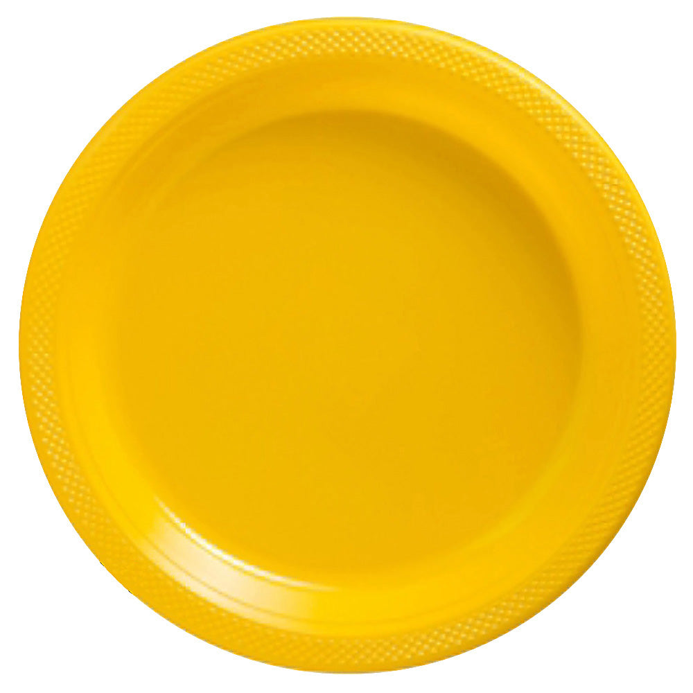Snack Plates Yellow Sunshine Plastic 18cm  - Pack of 20