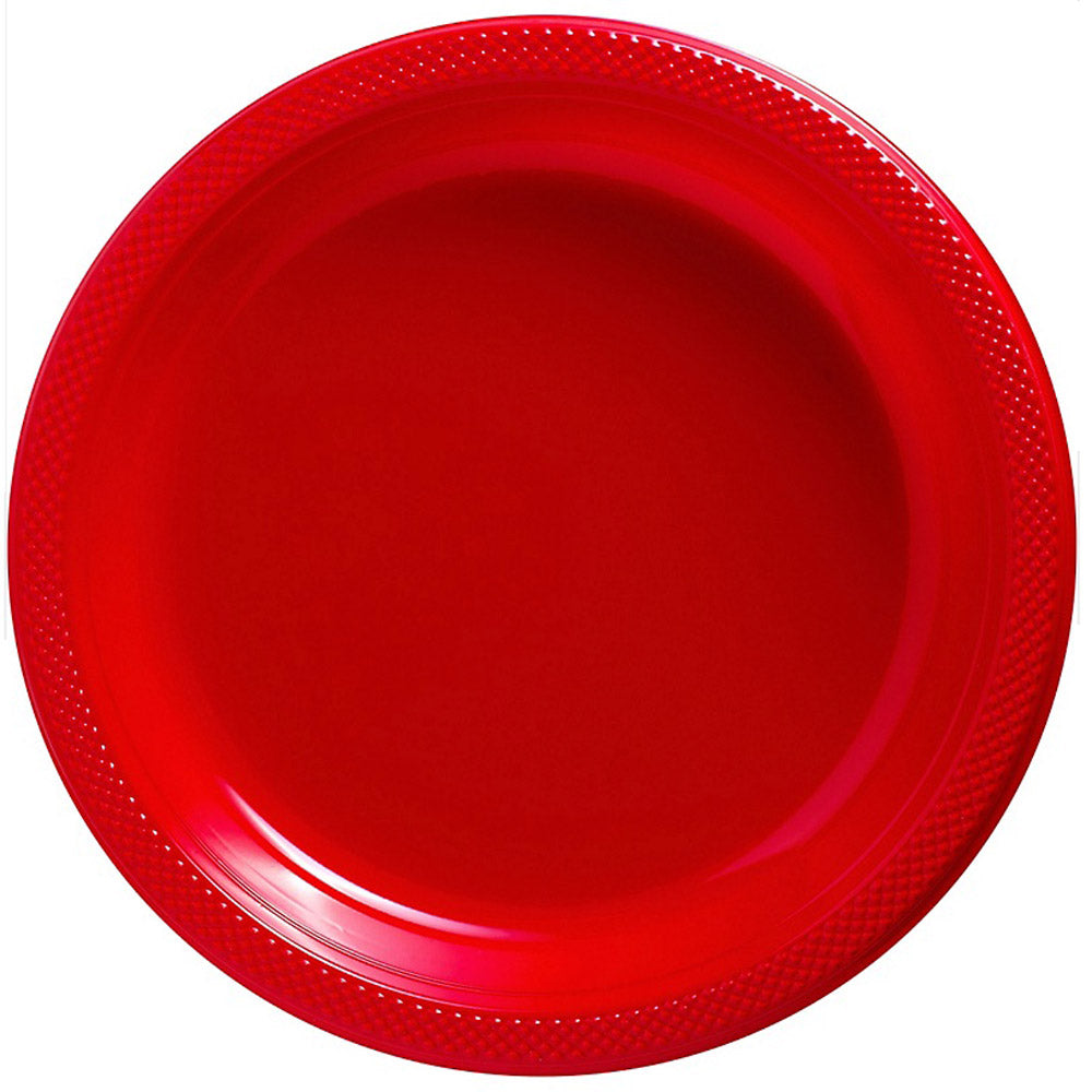 Dinner Plates Apple Red Plastic 23cm  - Pack of 20