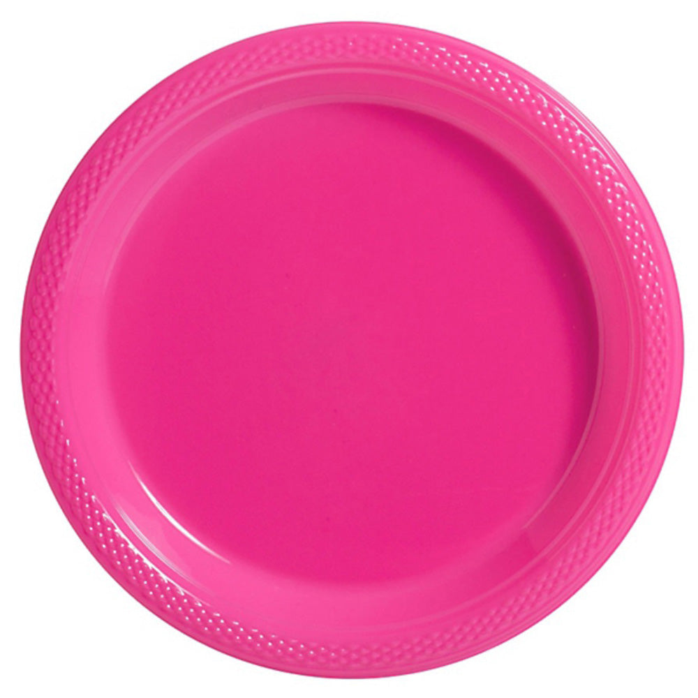 Banquet Plates Bright Pink Plastic 26cm  - Pack of 20