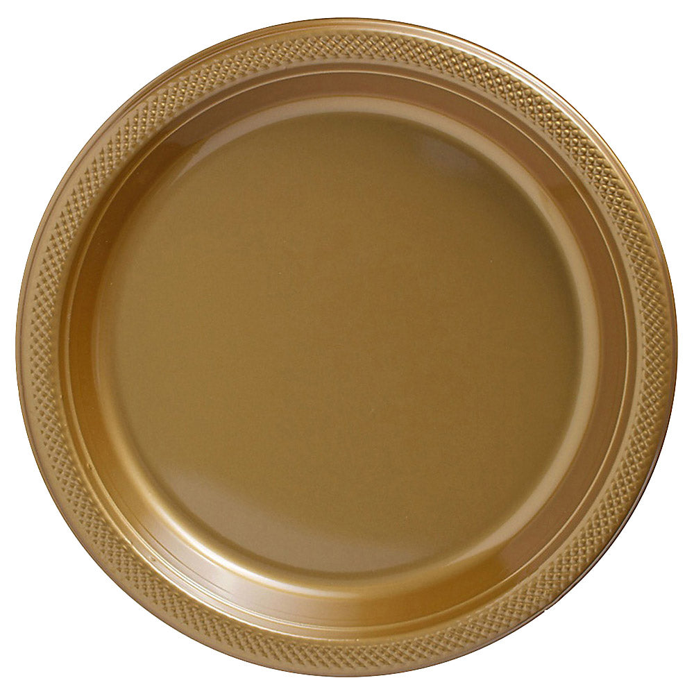 Banquet Plates Gold Plastic 26cm  - Pack of 20