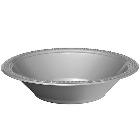 Bowls Silver 18cm Plastic 355ml - Pack of 20