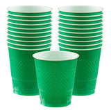Cups Festive Green 355ml Plastic  - Pack of 20