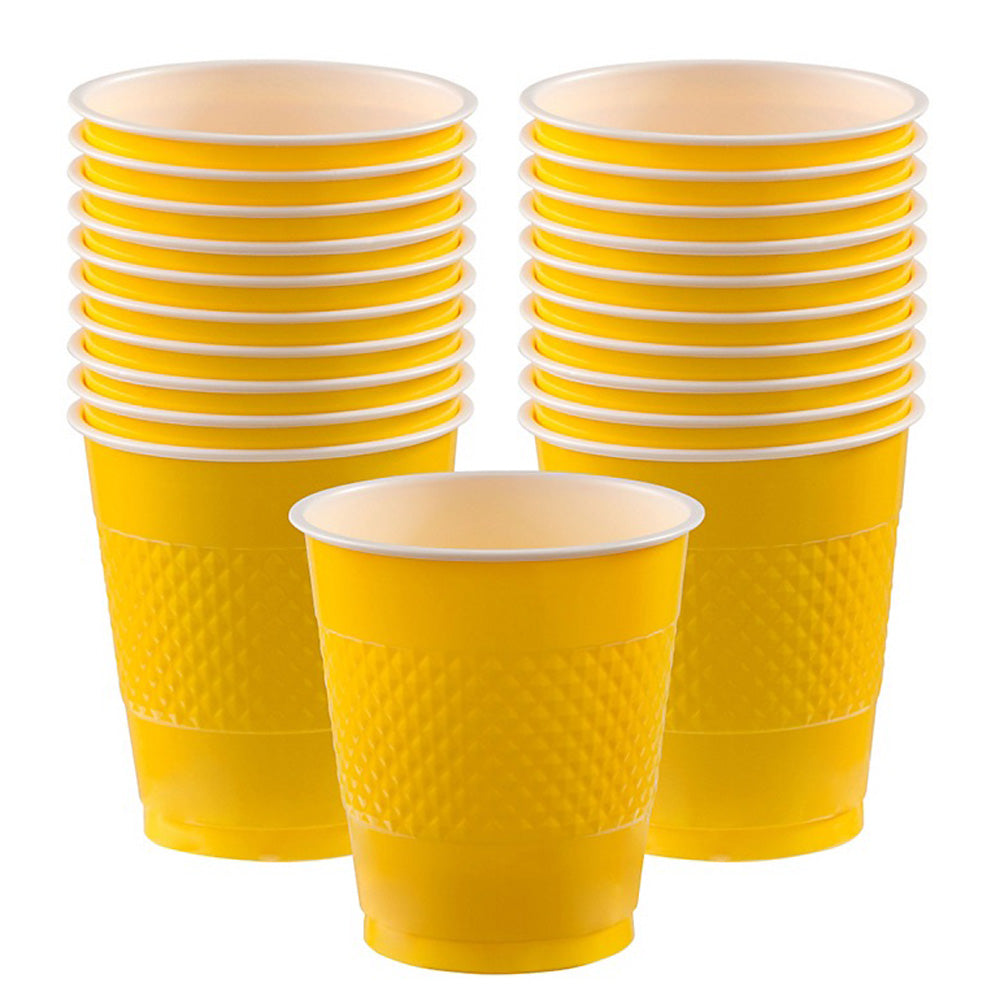 Cups Yellow Sunshine 355ml Plastic  - Pack of 20