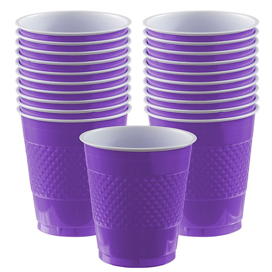 Cups New Purple 355ml Plastic  - Pack of 20